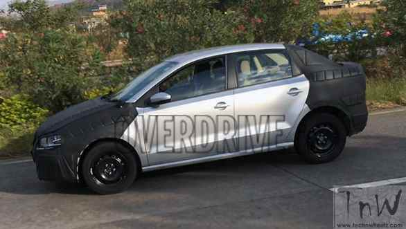 Volkswagen compact sedan spotted testing. 2016 Auto Expo debut