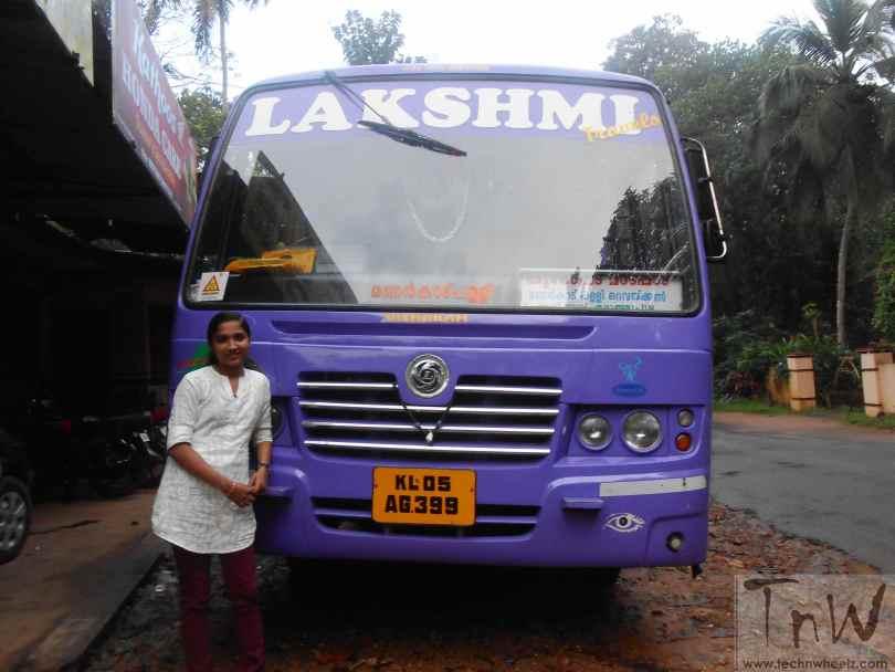 Athira Murali with Lakshmi bus