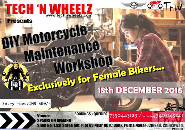 Female Bikers DIY Motorcycle Maintenance and Repair Workshop, Pune