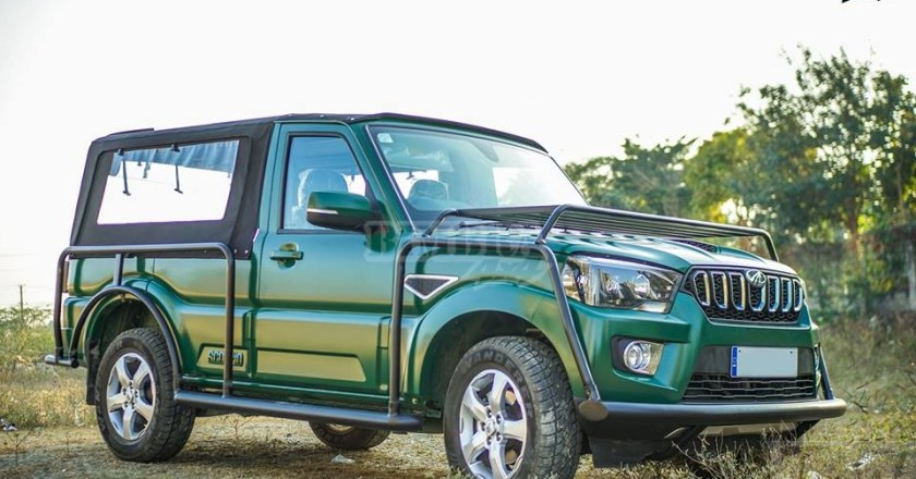 Mahindra Scorpio modified into a Pick-Up truck with a soft top