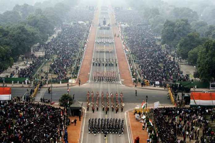 A bird's eye view of Rajpath on the occasion of the 68th Republic Day Parade 2017, in New Delhi on January 26, 2017.