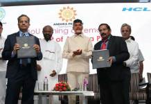 The MoU which was signed by AP chief minister N Chandrababu Naidu and HCL, founder and chairman, Shiv Nadar aims to aims to hire, employ and train 5000 local residents in the region with a plan to leverage a gender equal workforce, said a statement from technology firm. (Photo/Twitter)