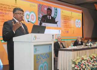 Union Minister for Electronics & IT Ravi Shankar Prasad addressing at the inauguration of the Conference on the 'ICEGOV 2017. (Photo/PIB)
