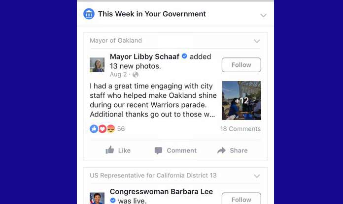 Social media giant Facebook is testing a feature that will run top posts from local politicians even into non-followers news feed, said media report. (Photo/Recode)