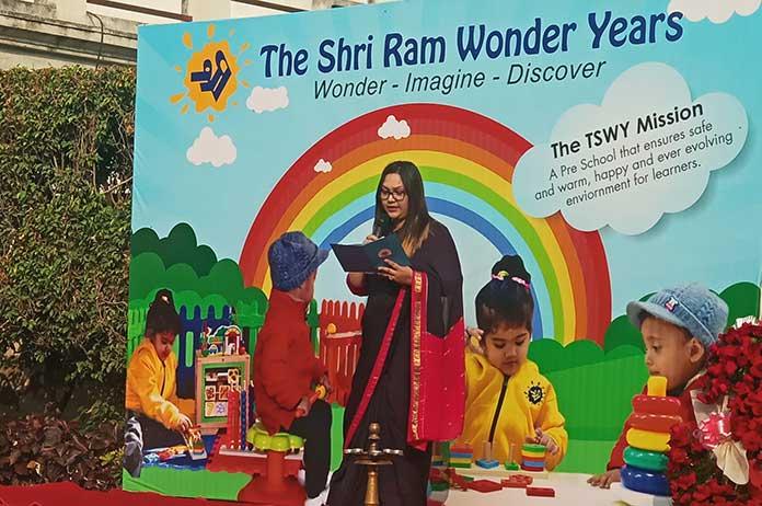 TSWY Ghaziabad Centre Head Saman Zahra speaking during the inauguration ceremony of The Shri Ram Wonder Years, Ghaziabad.