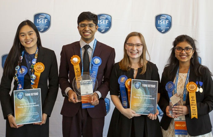 (L to R) Allison Jia, Krithik Ramesh, Rachel Seevers and Shriya Reddy. (Photo: Intel)