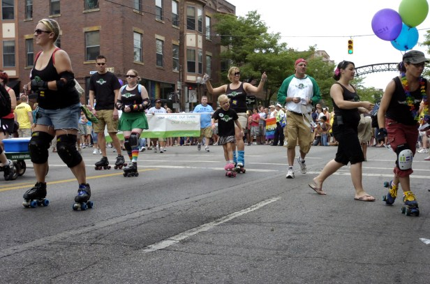 Members of the community gather for the PRIDE parade downtown.