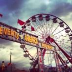 The fair features family-friendly amusement rides.