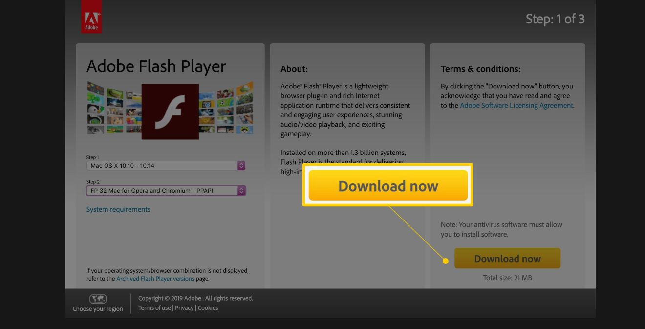 Download now button on Adobe Flash Player page