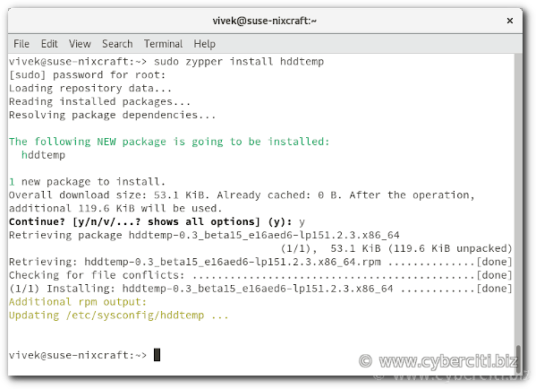 How to install hddtemp on OpenSUSE Linux
