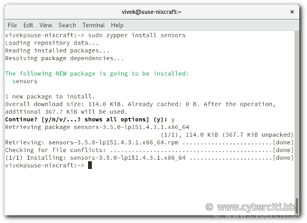 How to install sensors on OpenSUSE Linux