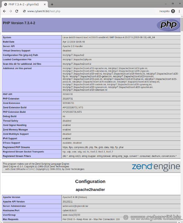 PHP 7.3 running on Debian LAMP