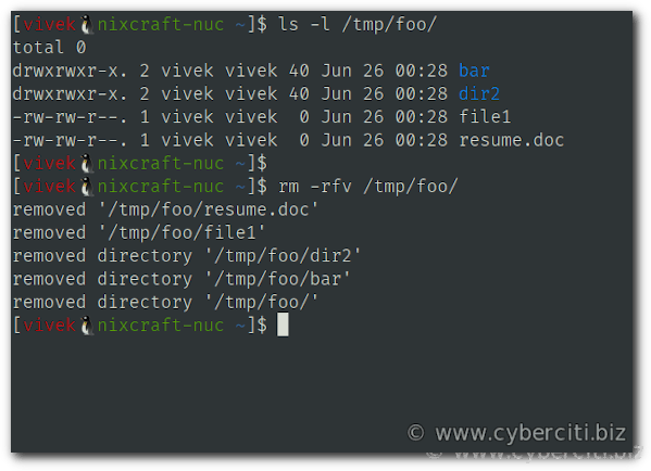 Remove a full directory in Linux