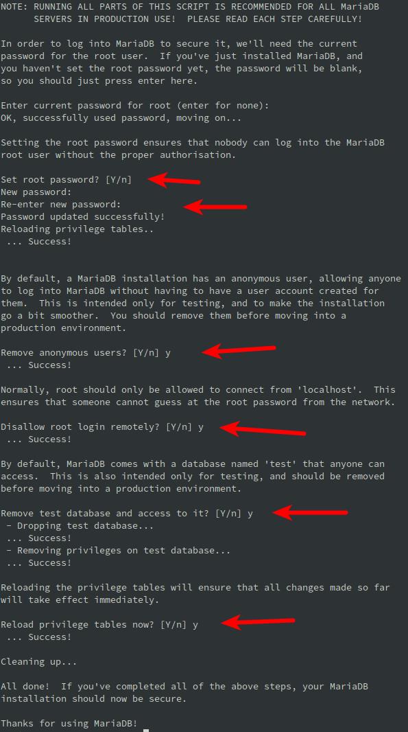 Run security script for MariaDB on Debian Linux 10