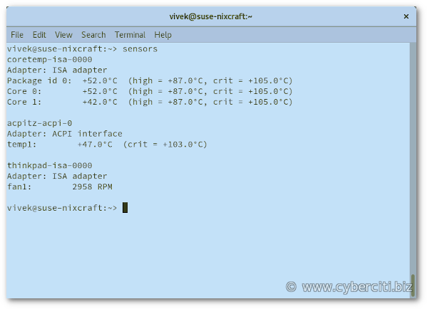 See CPU temperature in OpenSUSE Linux using the command line option