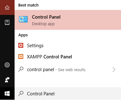 Type control panel in the search