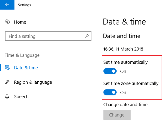 Make sure toggle for Set time automatically & Set time zone automatically is turned ON