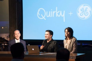 Quirky's Ben Kaufman (center) announces the partnership, with Mark Little (left) and Beth Comstock of GE.