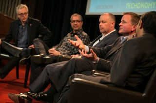 (From left) Techonomy's David Kirkpatrick, Qualcomm's Rob Chandhok, Dave Evans of Cisco, Paul Rogers of GE, and Ford's Vijay Sankaran (all photos by Asa Mathat)