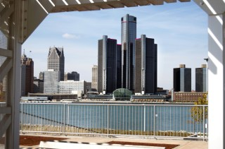 Detroit skyline picture via Shutterstock