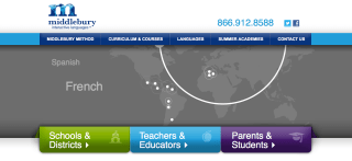 Middlebury College's Middlebury Interactive, a web-based approach to foreign language learning.