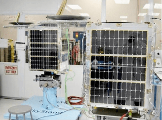 Skybox Imaging mini-fridge-sized satellites sit in the company's clean room.