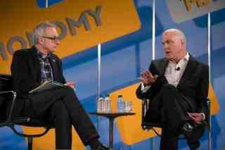 David Kirkpatrick interviews Aetna CEO Mark Bertolini at Techonomy 2013. (Photo by Asa Mathat)