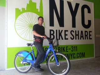 The author wields one of New York City's iconic CitiBikes.