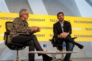 At last year's Techonomy: David Kirkpatrick (left) with LinkedIn's Jeff Weiner