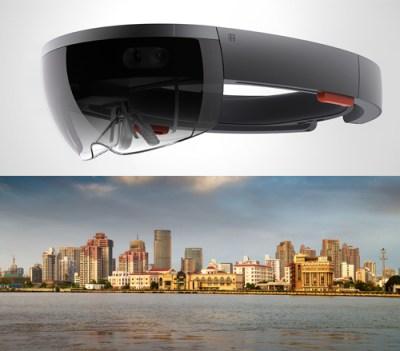 HoloLens image via Microsoft; Mumbai image via Shutterstock