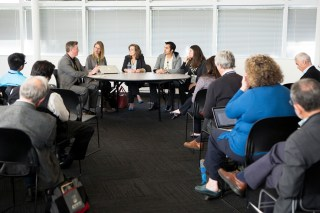 """At Techonomy Bio 2015, attendees watch panelists (from left) Theral Timpson, Erika Check Hayden, Kristen Bole, Ryan Bethencourt, and Ellen Jorgensen speak at a session entitled """"Science, Fear, and the Communication Game."""" (Photo by Rebecca Greenfield)"""