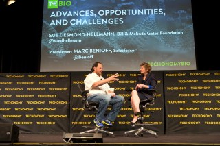 Marc Benioff and Sue Desmond-Hellman appear onstage together at Techonomy Bio 2015. (Photo by Rebecca Greenfield)