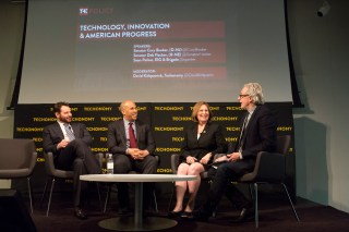 At left, Sean Parker, Sen. Cory Booker, Sen. Deb Fischer, and David Kirkpatrick. (Photo by Rebecca Greenfield)