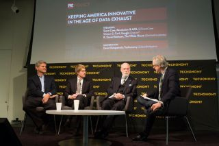 From left, Steve Case, R. David Edelman, Vint Cerf, and David Kirkpatrick. (Photo by Rebecca Greenfield)