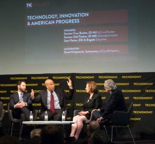 At TE Policy: from left, Sean Parker, Sen. Cory Booker, Sen. Deb Fischer, David Kirkpatrick