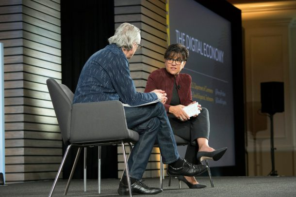 U.S. Commerce Secretary Penny Pritzker onstage at Techonomy 2015 with David Kirkpatrick.