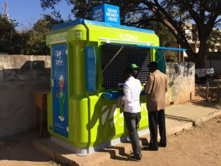 A kiosk for Zoona, an Zambian mobile money system that helps entrepreneurs and ordinary people transfer money.
