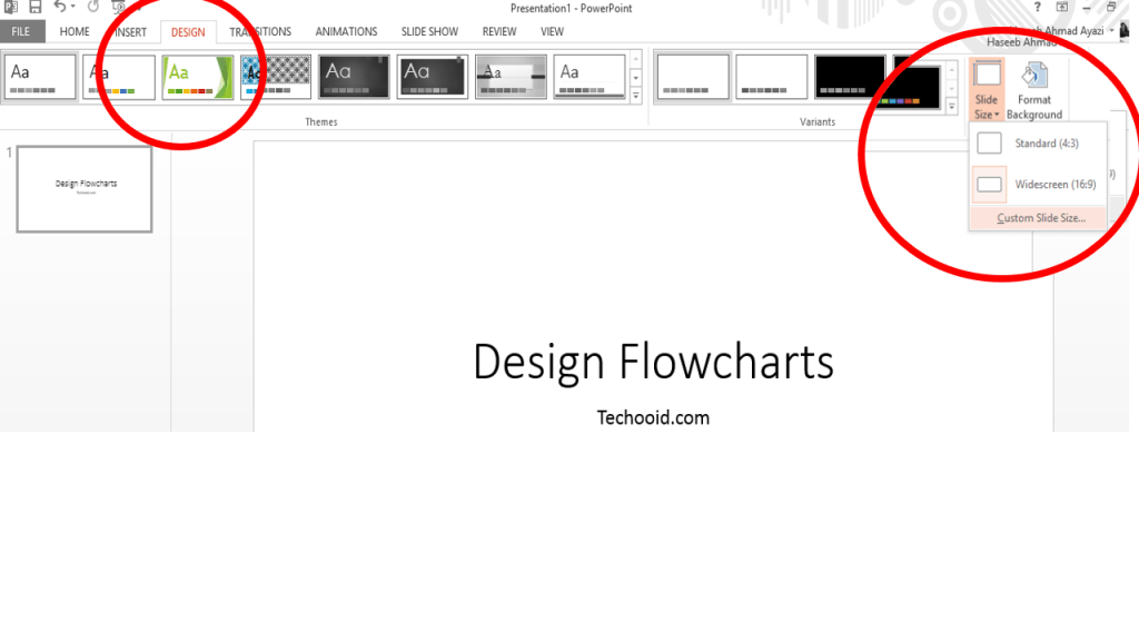 Flowchart in PowerPoint, Slide configuration