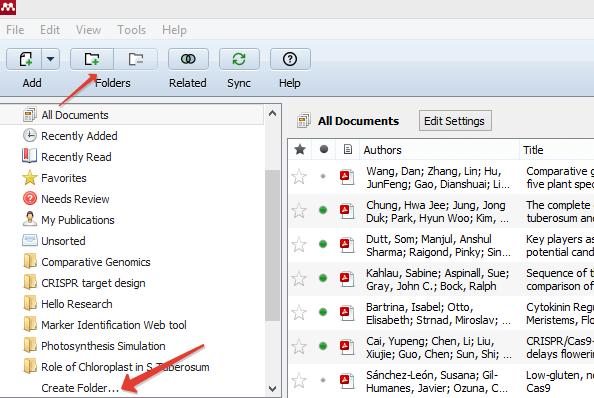 Create new folder in Mendeley Desktop - Screenshot