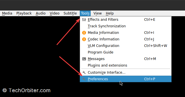 Open VLC player and go to Tools > Preferences