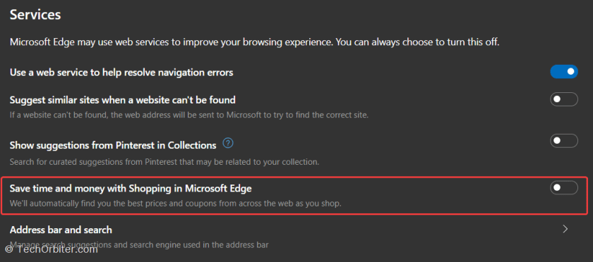 "Disable the option that reads ""Save time and money with Shopping in Microsoft Edge"" towards the bottom of the page"