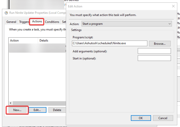 Create an action to launch the Ninite file when this task runs