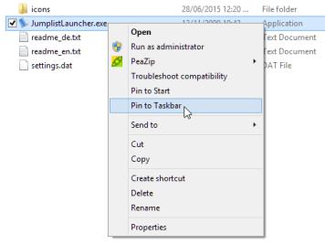 Pin Jumplist Launcher to taskbar