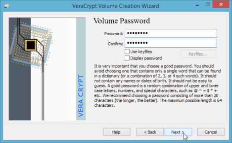 Set the volume password
