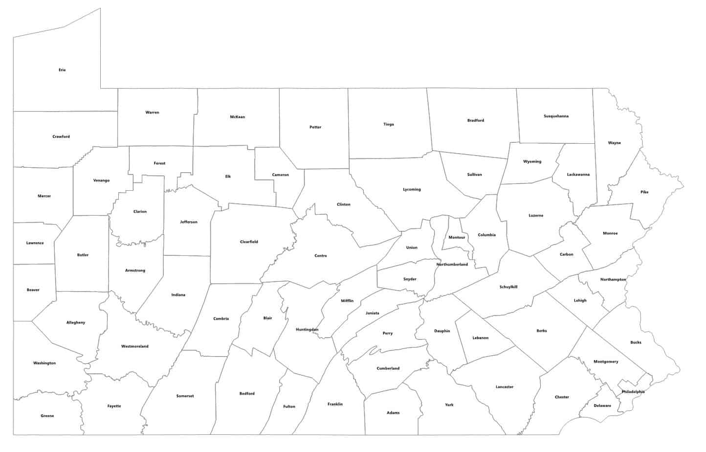 county outline map of Pennsylvania with hot spots for regional centers