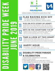 Poster describing all 6 days of events for disability pride