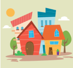 Cartoon of multiple houses together representing community