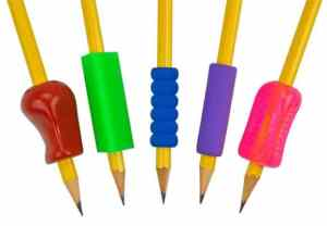 Pencils with grips on them