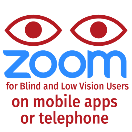 Zoom for blind and low vision users on mobile apps or telephone
