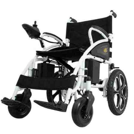Tube framed wheelchair with a joystick for steering.